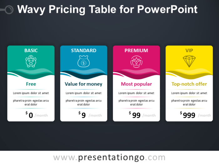 Free Pricing Table for PowerPoint - Dark Background