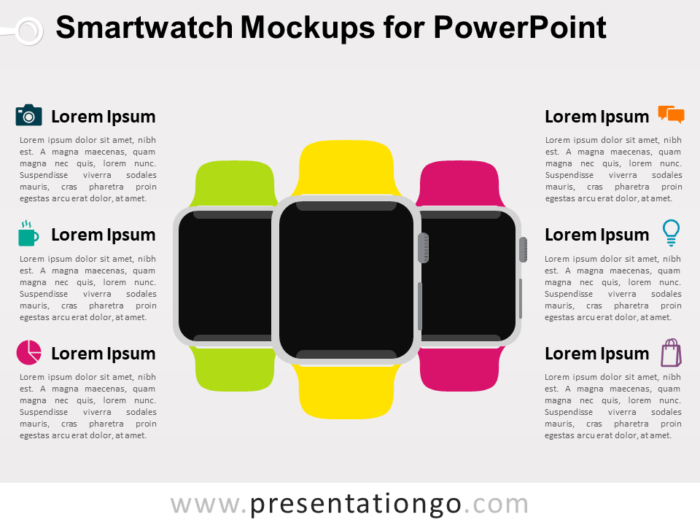 Free Smartwatch Mockups for PowerPoint - Blank