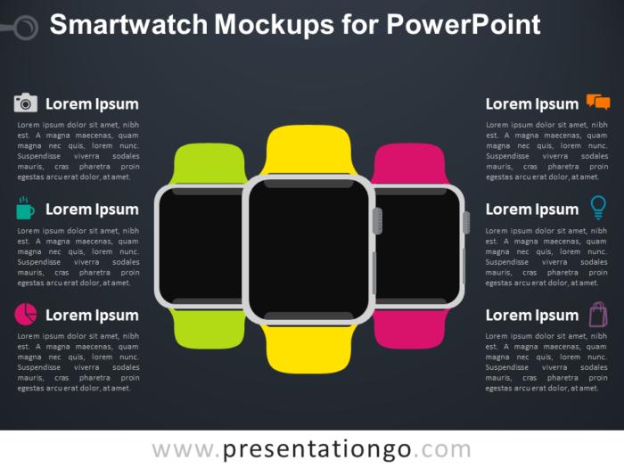Free Smartwatch Mockups for PowerPoint - Dark Background