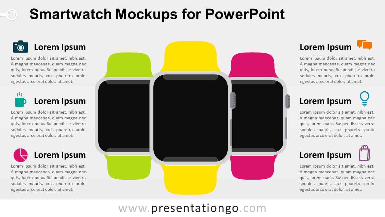 Free Smartwatch Mockups PowerPoint Template - Blank