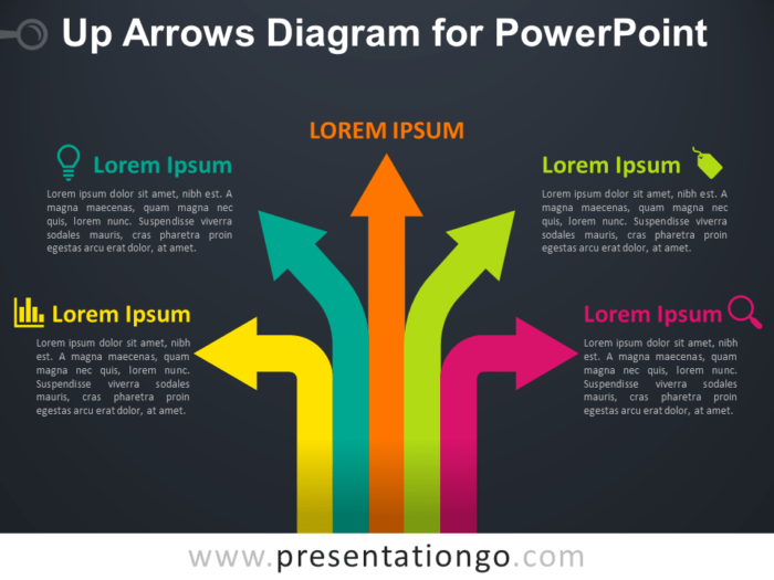Free Up Arrows Diagram for PowerPoint - Dark Background