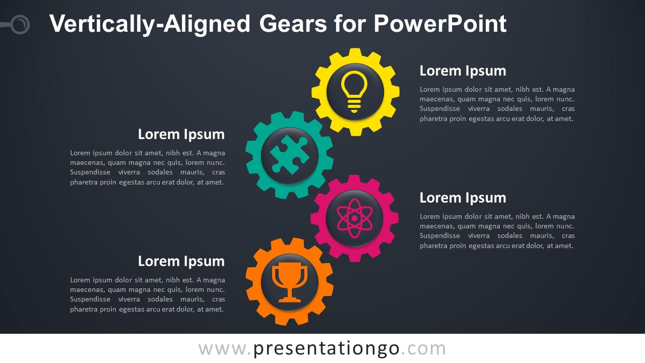 Free Vertical Gears for PowerPoint - Dark Background