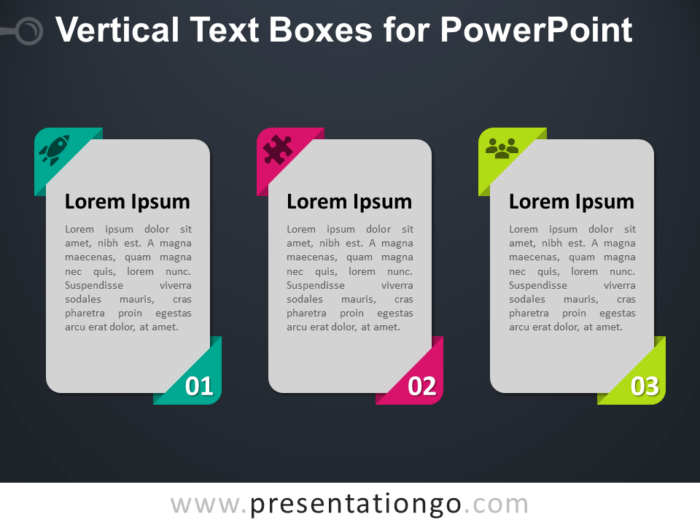 Free Vertical Text Boxes for PowerPoint - Dark Background