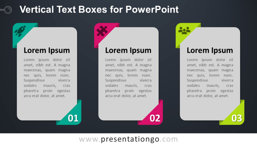 Free Vertical Textboxes for PowerPoint - Dark Background