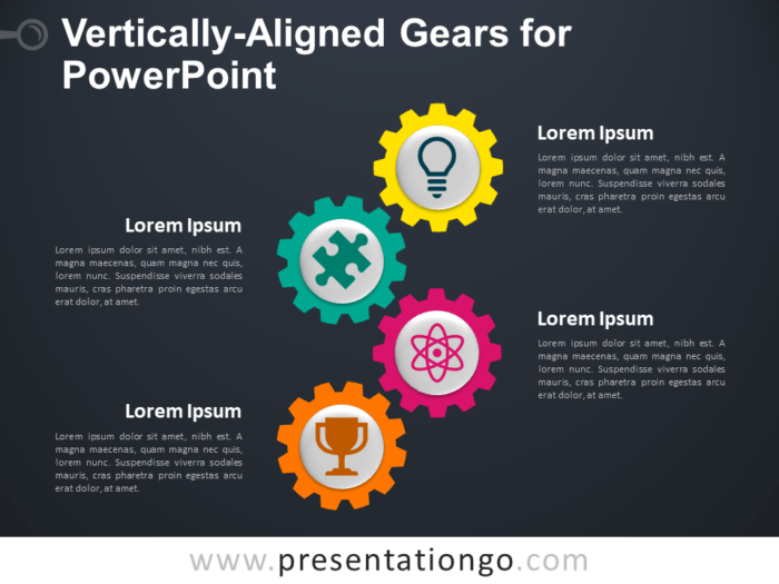 Free Vertically-Aligned Gears for PowerPoint - Dark Background
