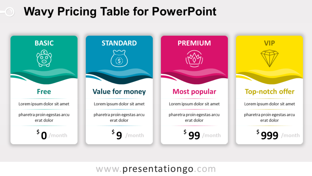 Free Wavy Price Table for PowerPoint with 4 Options