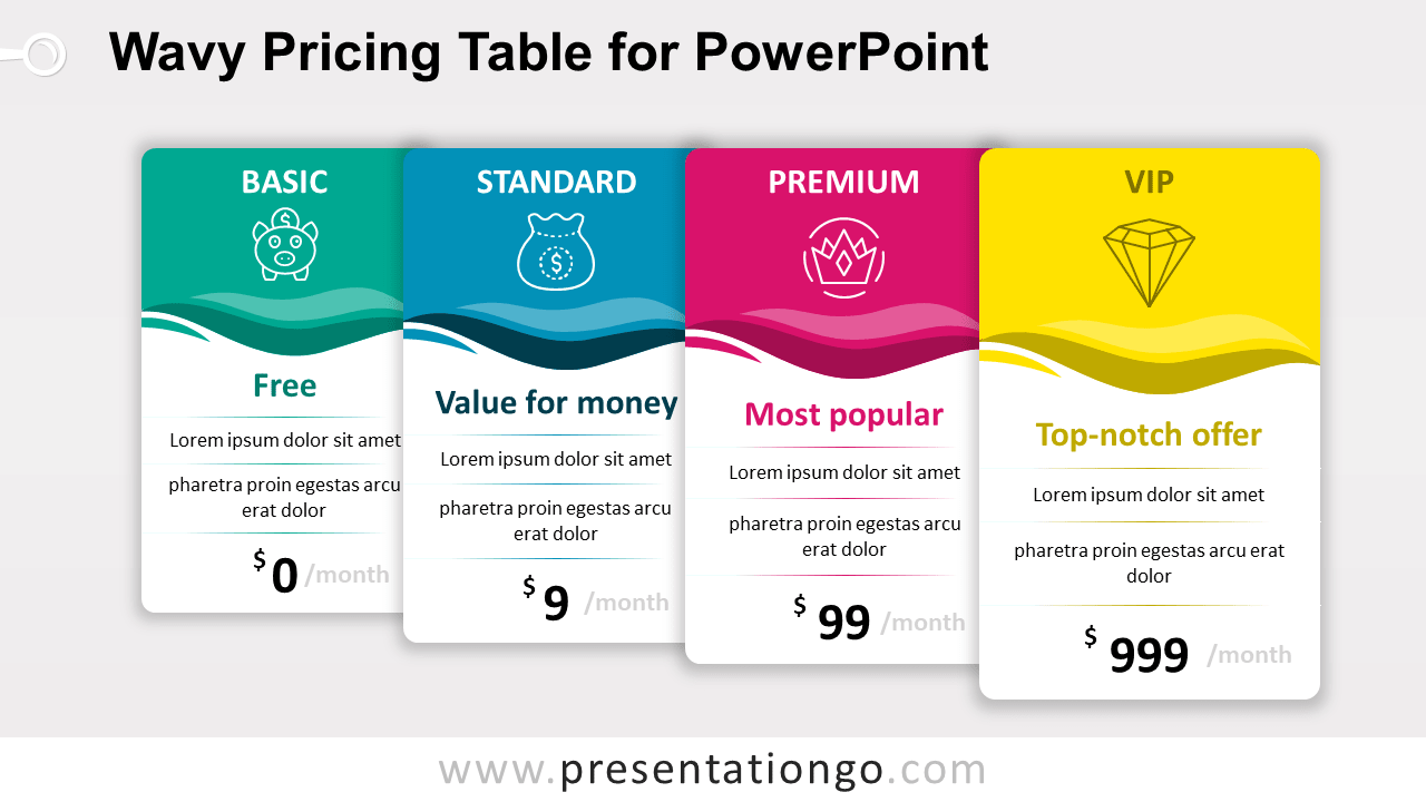 Wavy Price Table for PowerPoint (Increasing)