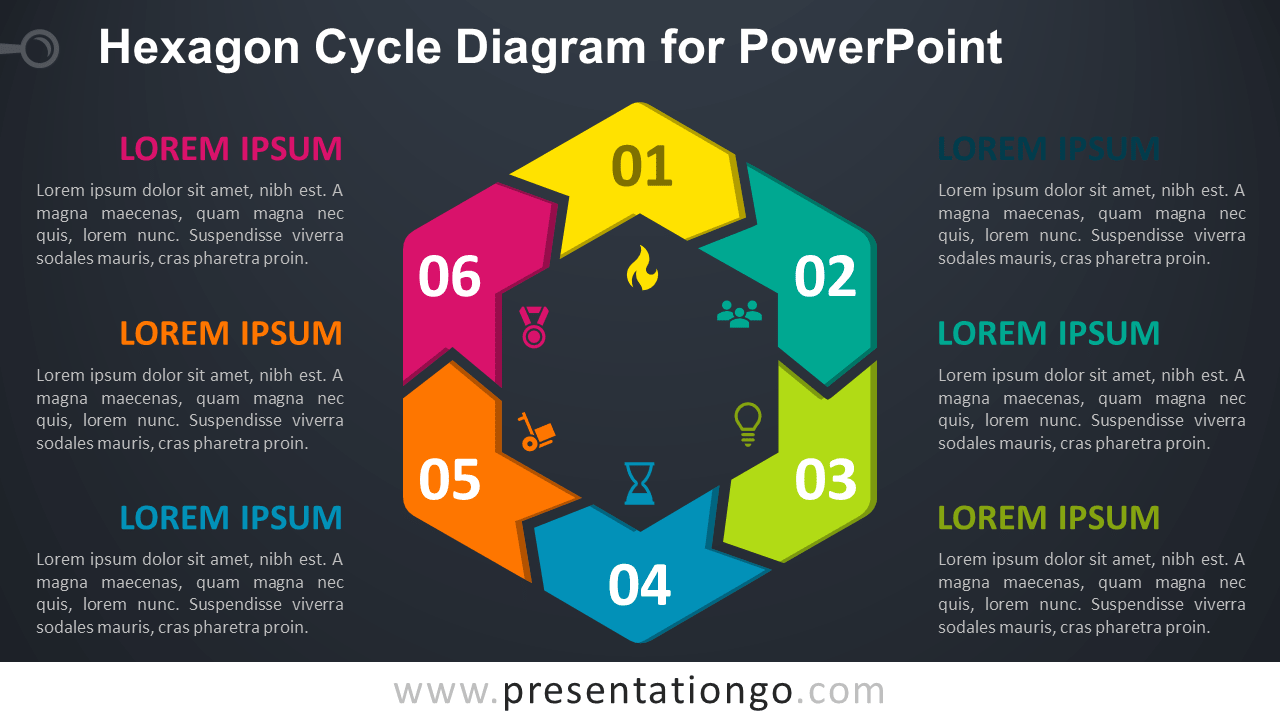 Free Hexagon Cycle for PowerPoint - Dark Background