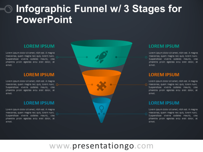 Free Infographic Funnel with 3 Stages for PowerPoint - Dark Background