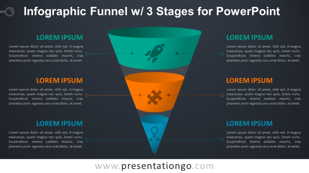 Infographic Funnel with 3 Stages - Free PowerPoint Diagram (Dark Background)