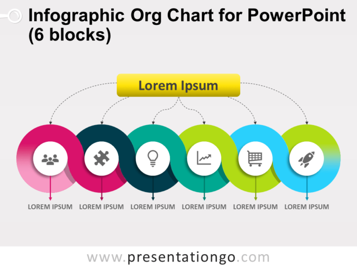 Free Infographic Org Chart for PowerPoint with 6 Blocks