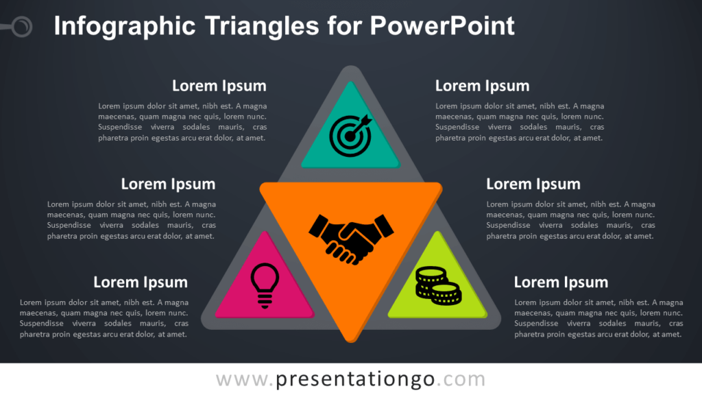Free Infographic Triangles PowerPoint Template - Dark Background