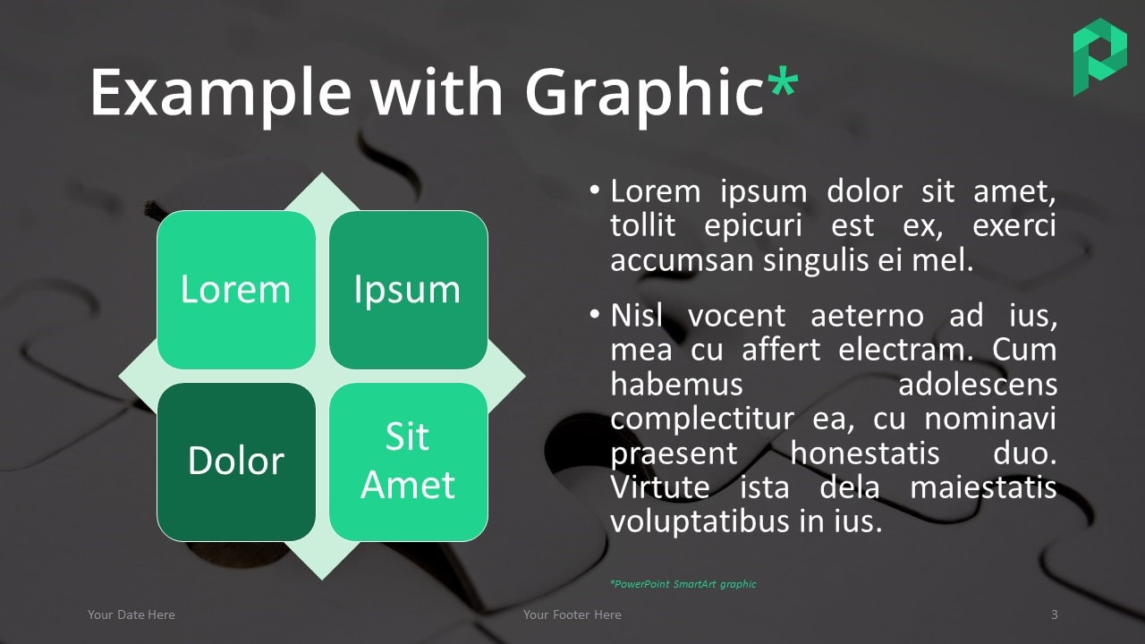 Free Jigsaw Puzzle Template for PowerPoint (Dark) - Graphic Example