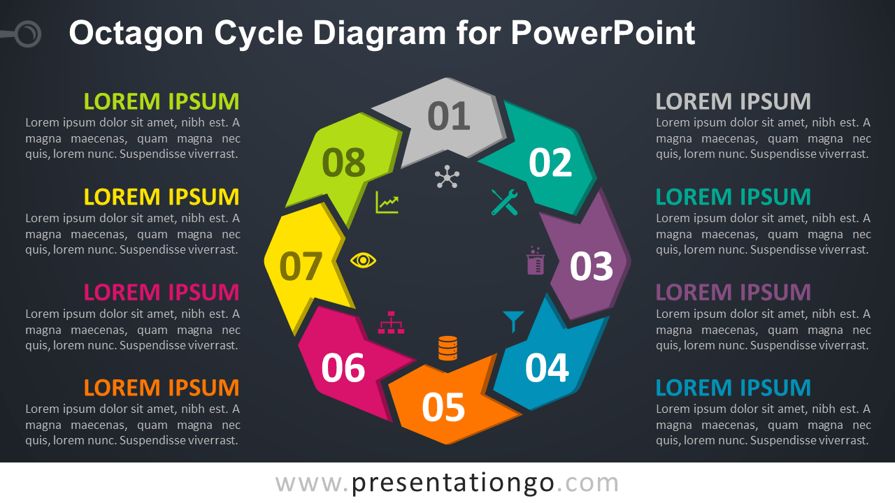 Free Octagon Cycle for PowerPoint - Dark Background