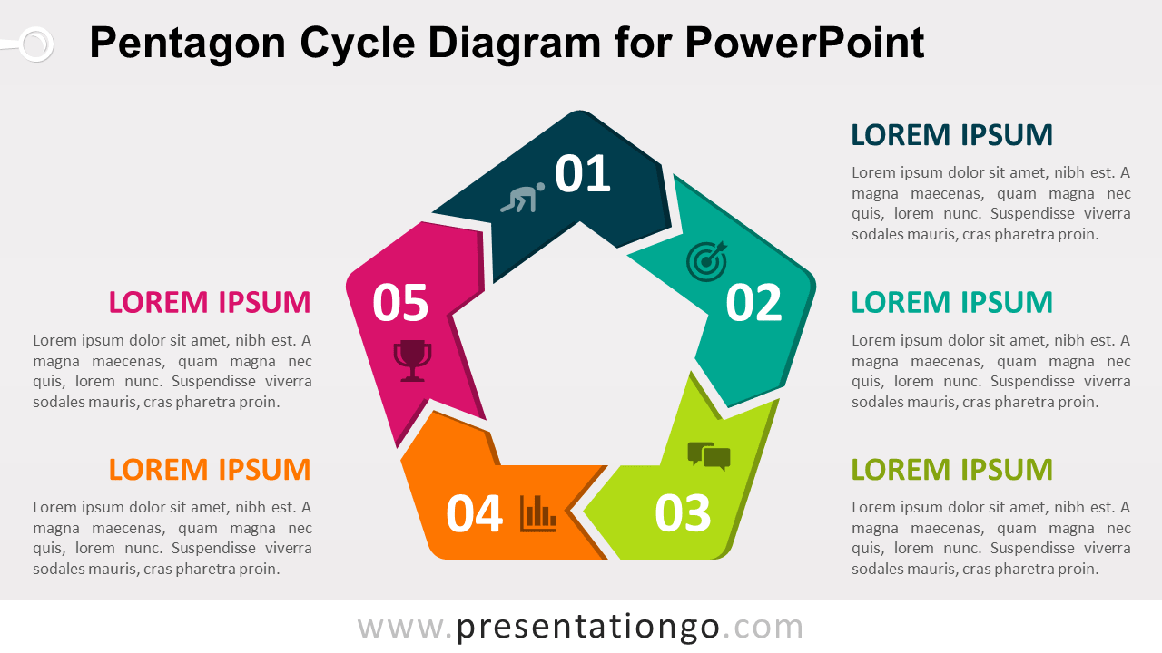Free Pentagon Cycle for PowerPoint