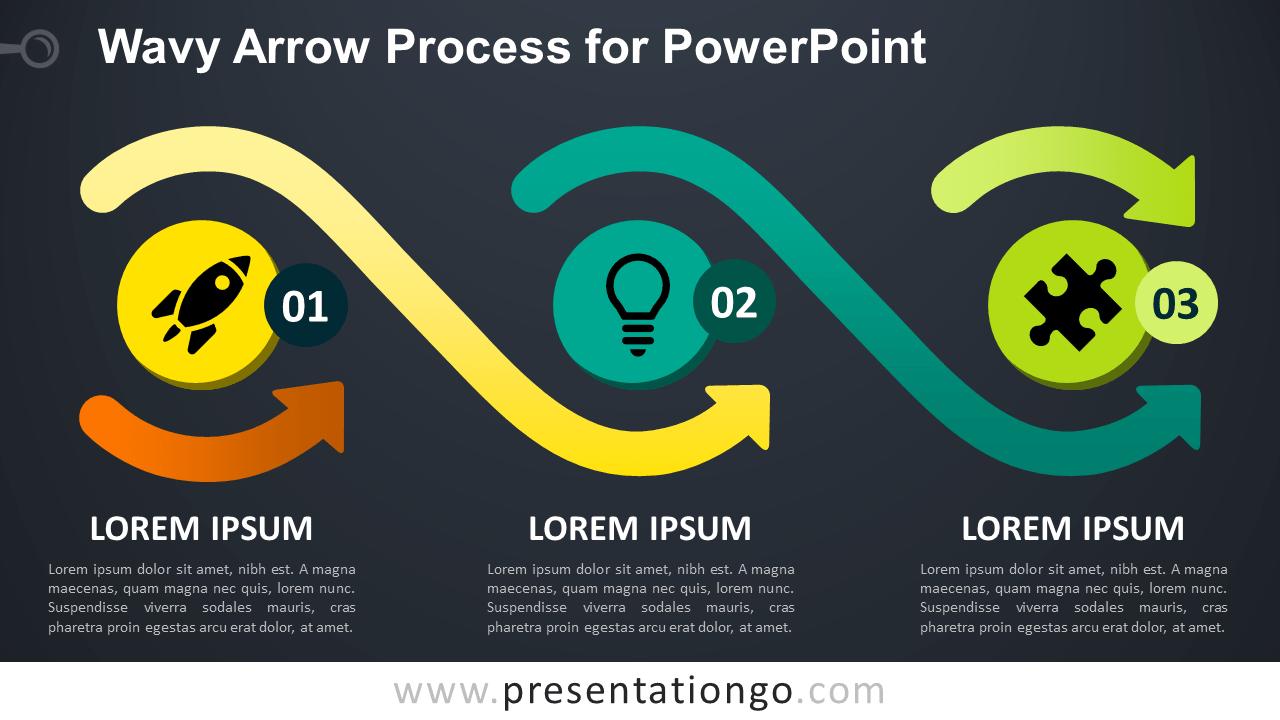 Free Wavy Arrow Process Diagram for PowerPoint - Dark Background