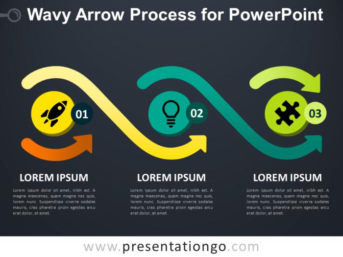Free Wavy Arrow Process for PowerPoint - Dark Background