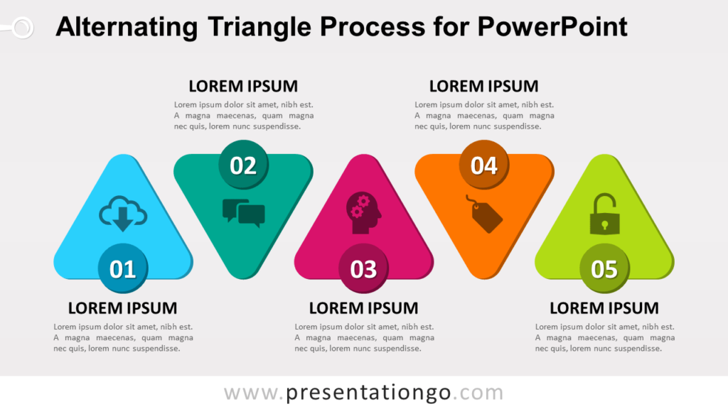 Free Alternating Triangle Process Diagram for PowerPoint