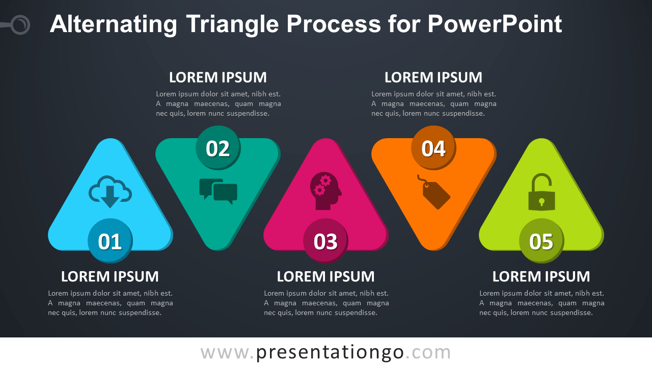 Free Alternating Triangle Process Diagram for PowerPoint - Dark Background