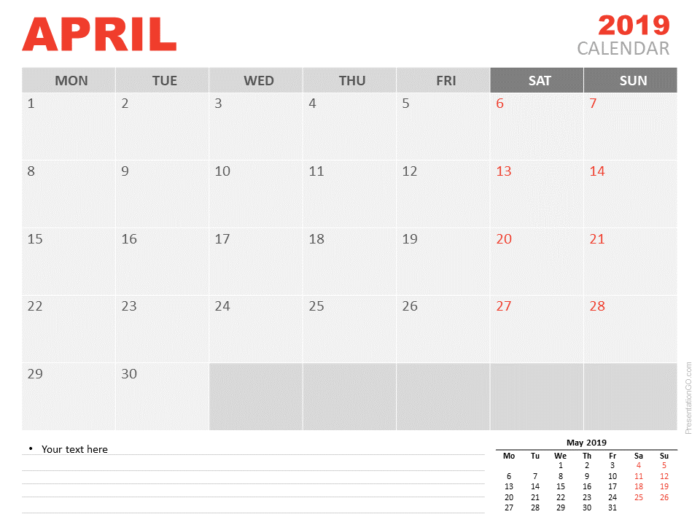 Free April Calendar 2019 for PowerPoint - Week starts Monday