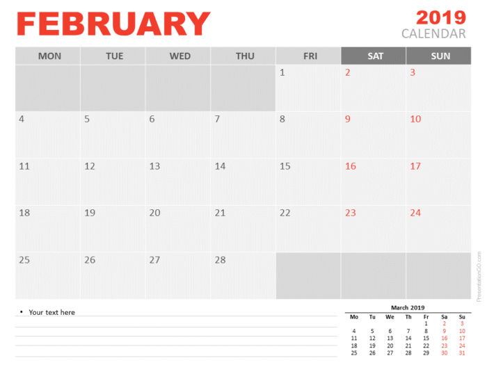 Free February Calendar 2019 for PowerPoint - Week starts Monday
