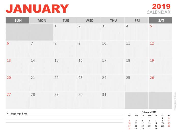 Free January Calendar 2019 for PowerPoint - Week starts Sunday