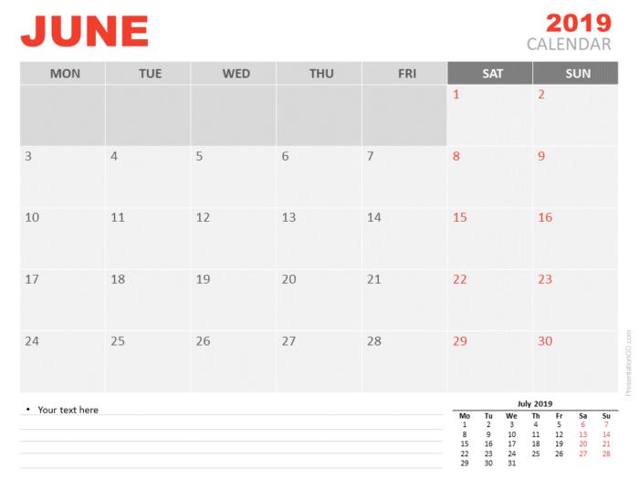 Free June Calendar 2019 for PowerPoint - Week starts Monday