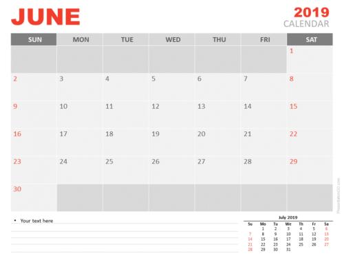Free June Calendar 2019 for PowerPoint - Week starts Sunday