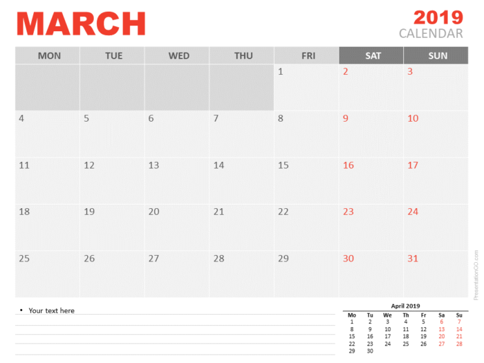 Free March Calendar 2019 for PowerPoint - Week starts Monday