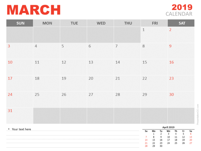 Free March Calendar 2019 for PowerPoint - Week starts Sunday