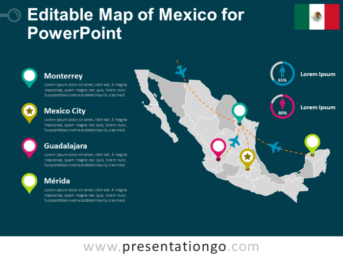Free Editable Map of Mexico for PowerPoint