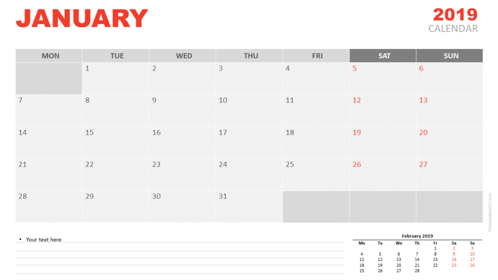January 2019 Calendar PowerPoint (starts Monday)