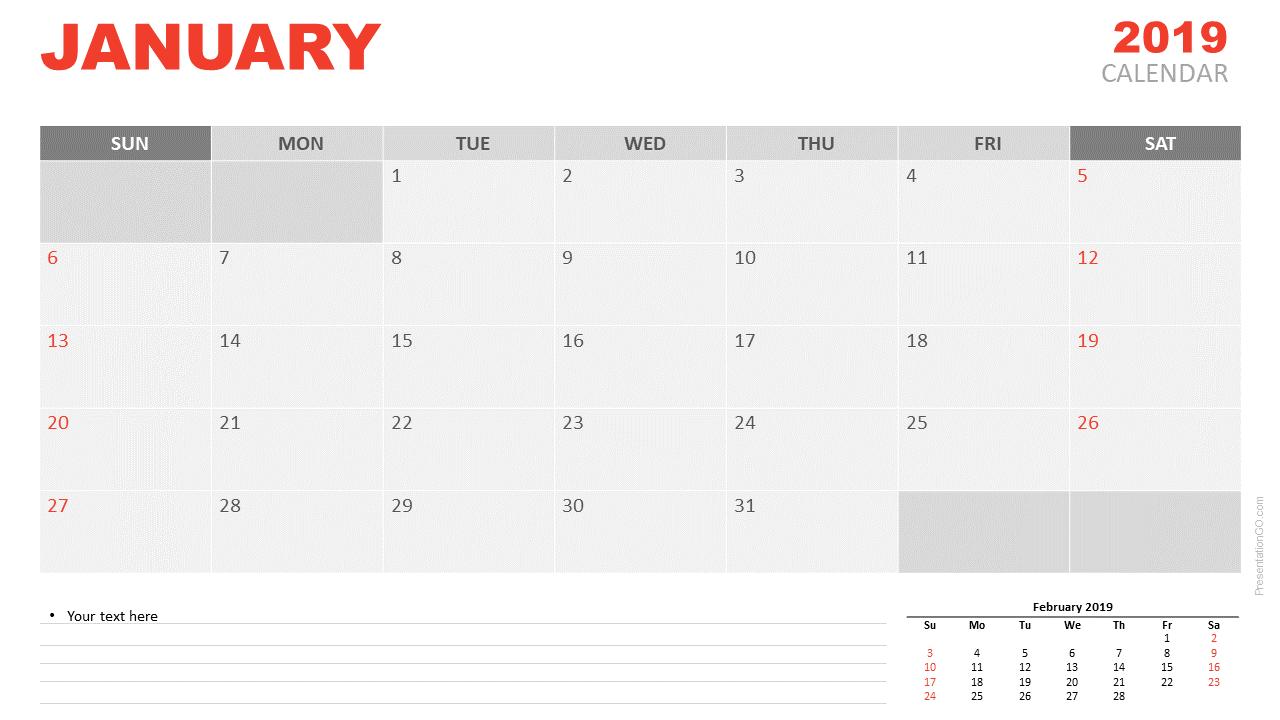 Free January 2019 Calendar PowerPoint