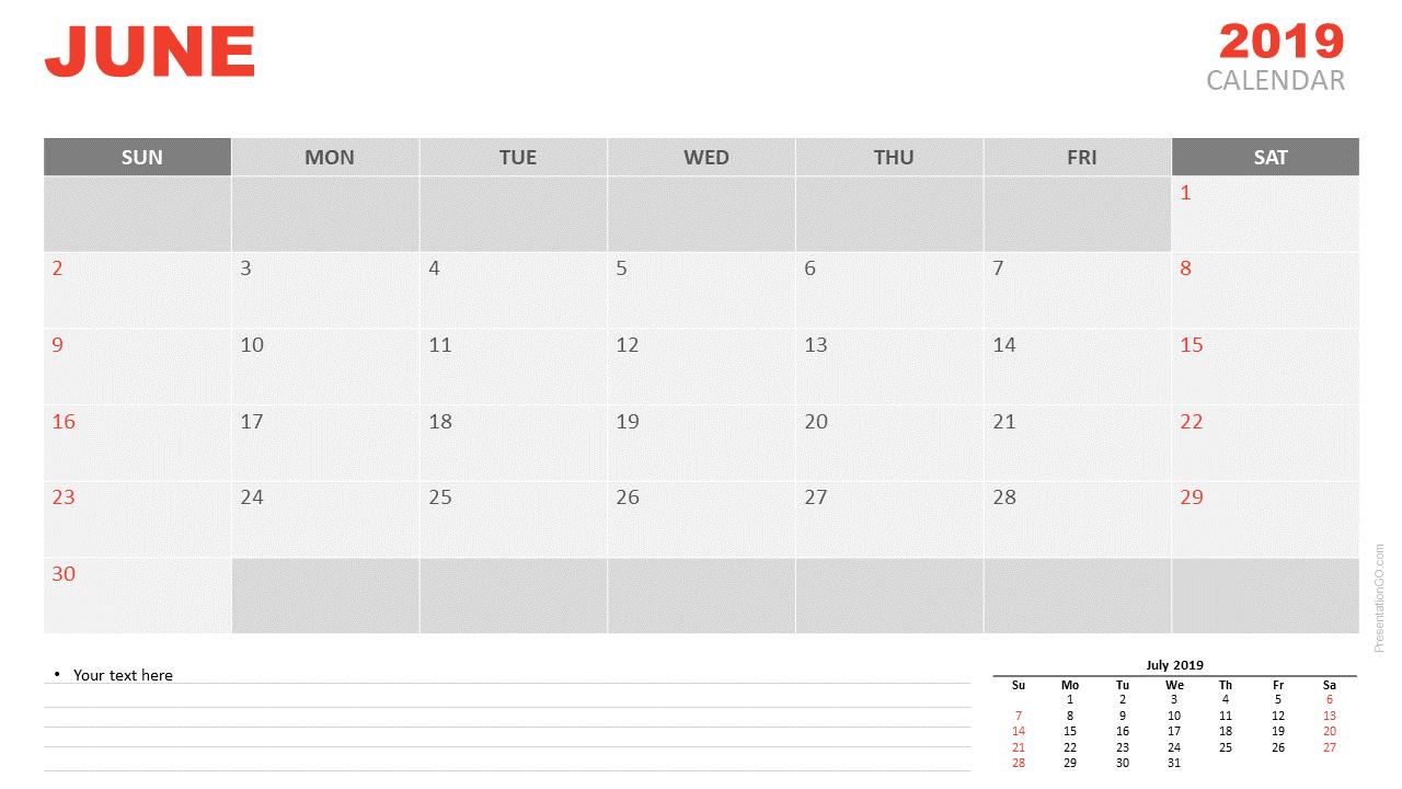 June 2019 Calendar PowerPoint