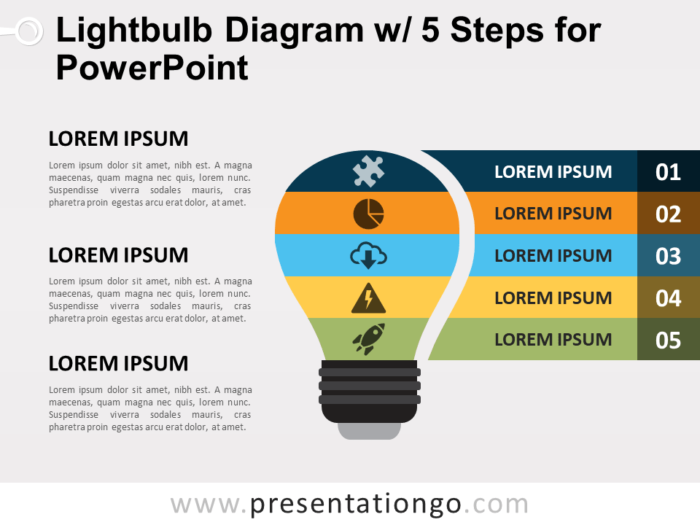Free Light Bulb Diagram with Five Steps for PowerPoint