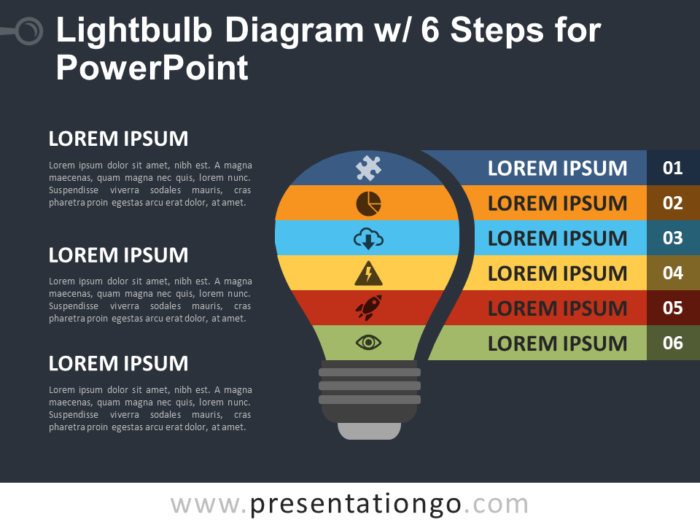Free Light Bulb Diagram with Six Steps for PowerPoint - Dark Background