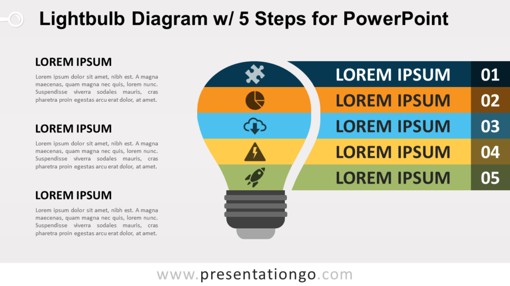 Free Light Bulb PowerPoint Diagram with 5 Steps