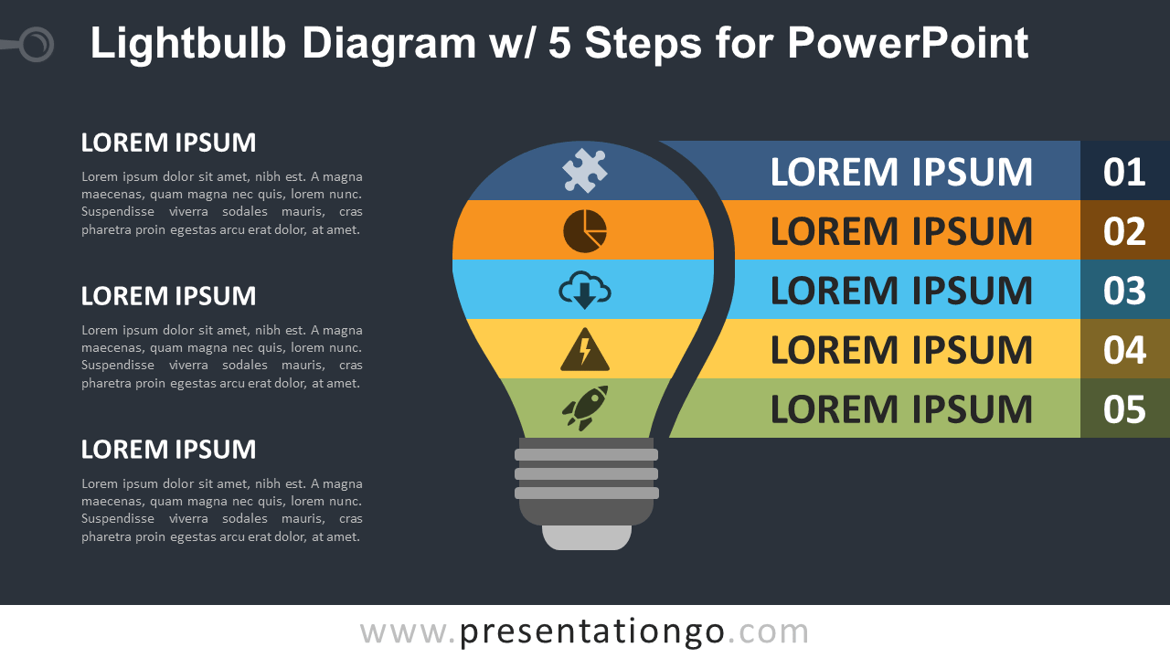 Free Light Bulb PowerPoint Diagram with 5 Steps - Dark Background