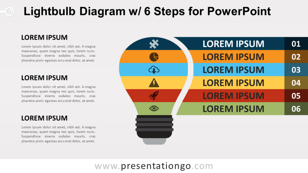 Free Light Bulb PowerPoint Diagram with 6 Steps