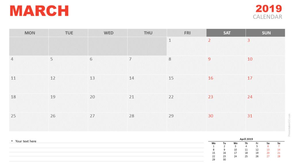 March 2019 Calendar PowerPoint (Monday)