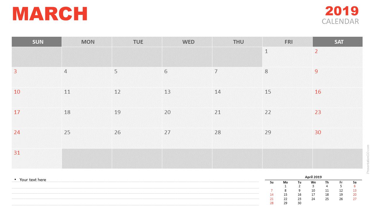 March 2019 Calendar PowerPoint
