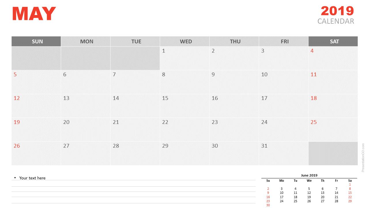 May 2019 Calendar PowerPoint