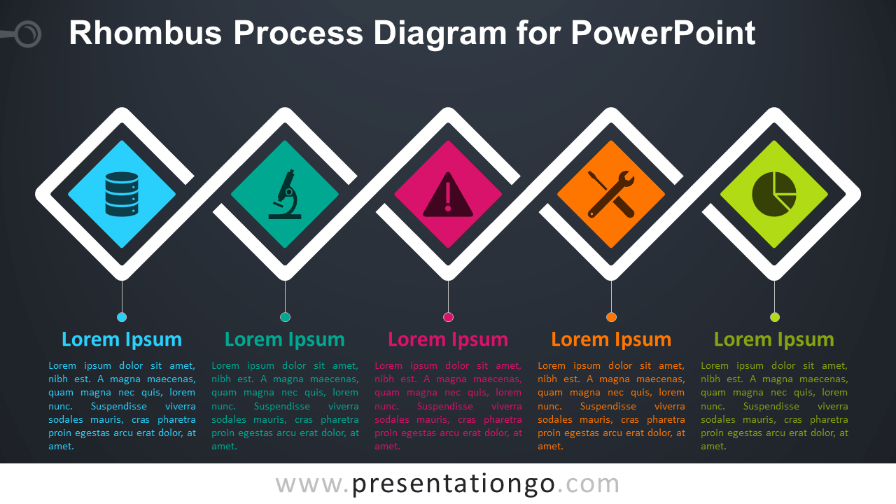 Free Rhombus Process for PowerPoint - Dark Background