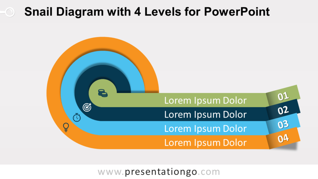 Snail with Four Levels PowerPoint Diagram