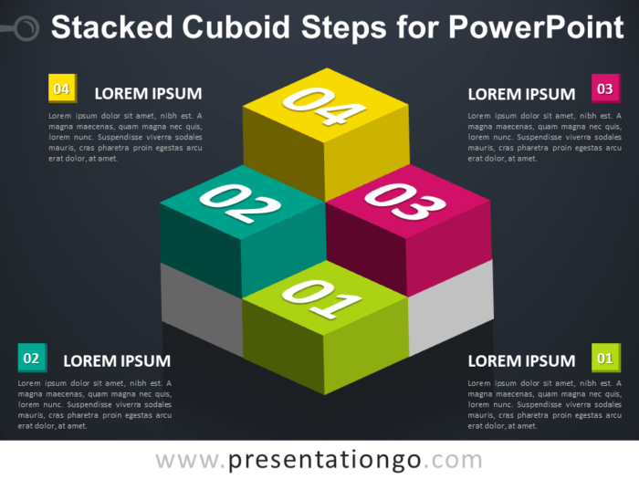 Free Stacked Cuboid Steps for PowerPoint - Dark Background