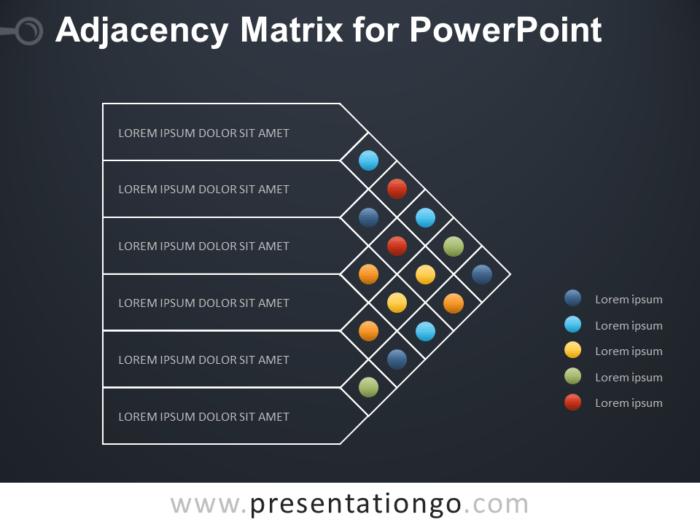 Free Adjacency Matrix Diagram for PowerPoint - Dark Background