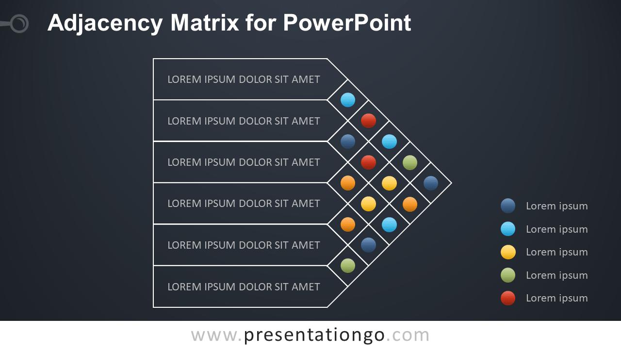 Adjacency Matrix for PowerPoint - Dark Background