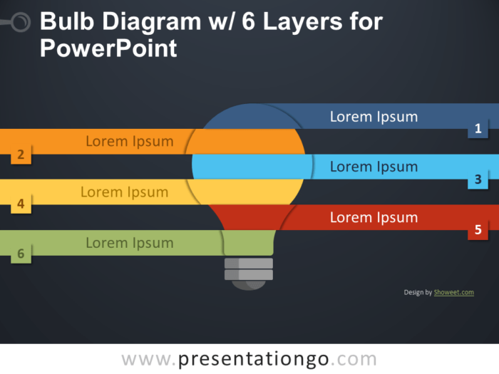 Free Bulb Diagram with 6 Layers for PowerPoint - Dark Background