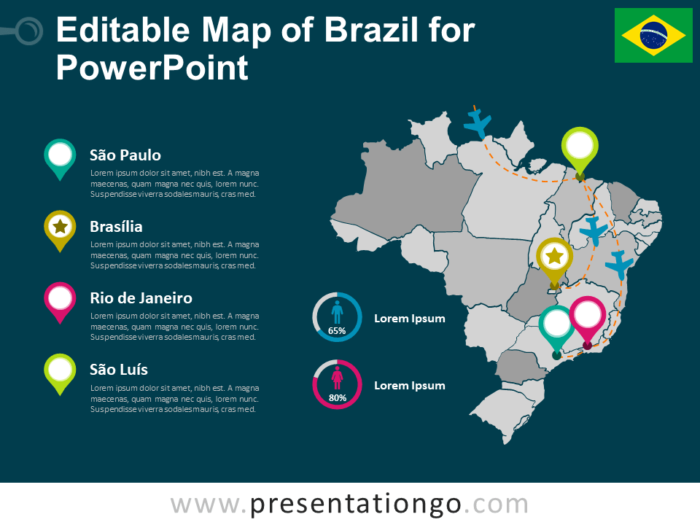 Editable Map of Brazil for PowerPoint