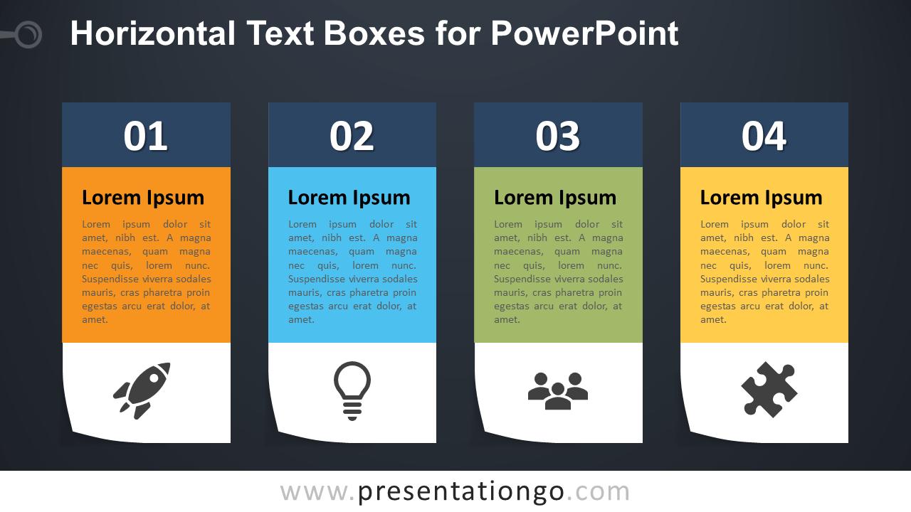 Four Horizontal Text Boxes for PowerPoint - Dark Background